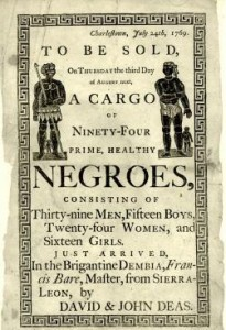 Ad for slave auction from a newly arrived ship.