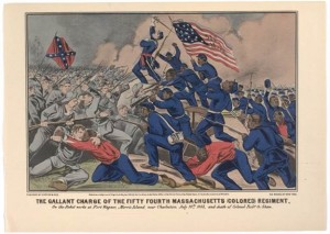 """The Gallant Charge of the Fifty Fourth Massachusetts (Colored) Infantry"" by Currier & Ives. Note Union flag bearer as leader."